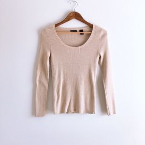 Moda International Ribbed Beige Pullover Top